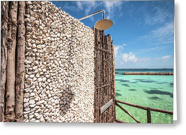 Greeting Card featuring the photograph Blue Lagoon View by Jenny Rainbow