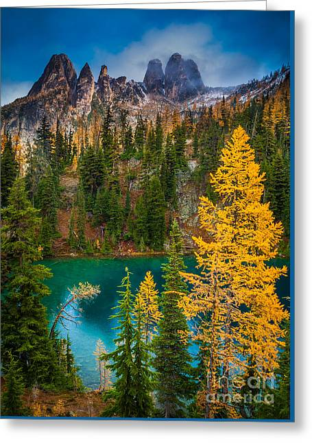 Blue Lake And Early Winter Spires Greeting Card