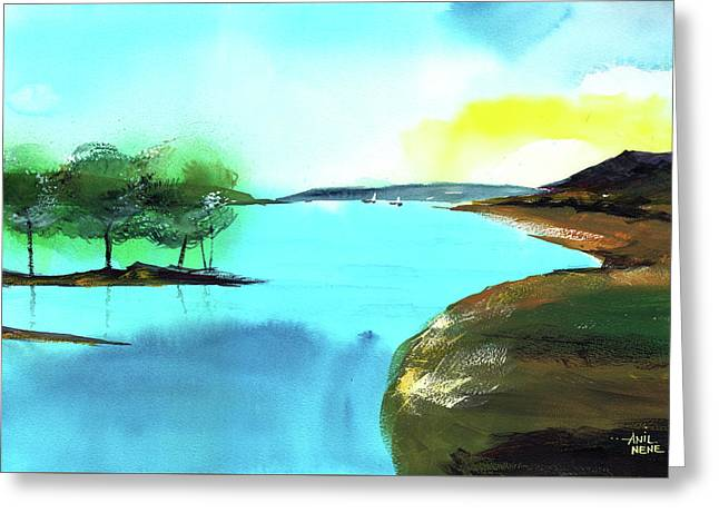 Greeting Card featuring the painting Blue Lake by Anil Nene