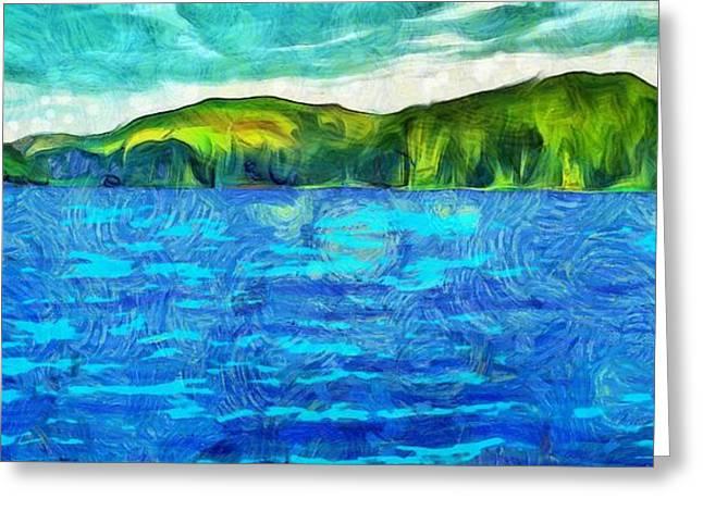 Blue Lake Green Land Greeting Card by Dan Sproul