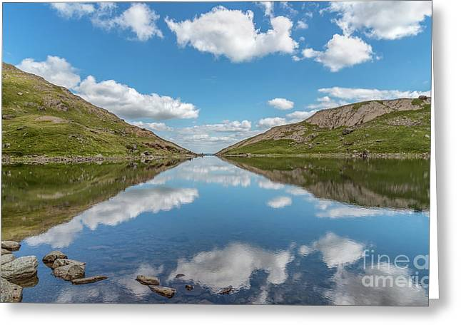Blue Lake Of Snowdonia Greeting Card by Adrian Evans