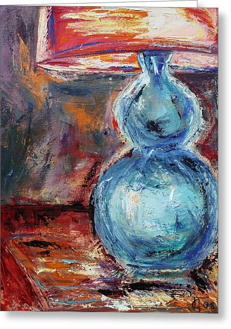 Blue Lamp Greeting Card by Jill Tennison