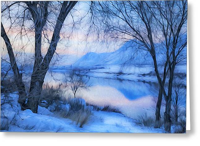 Blue Landscape Greeting Card by Theresa Tahara