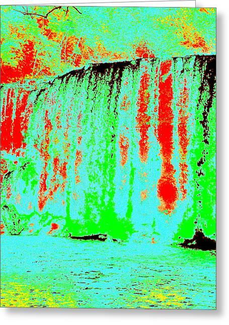 Blue Lava Waterfall Greeting Card by Erika Swartzkopf