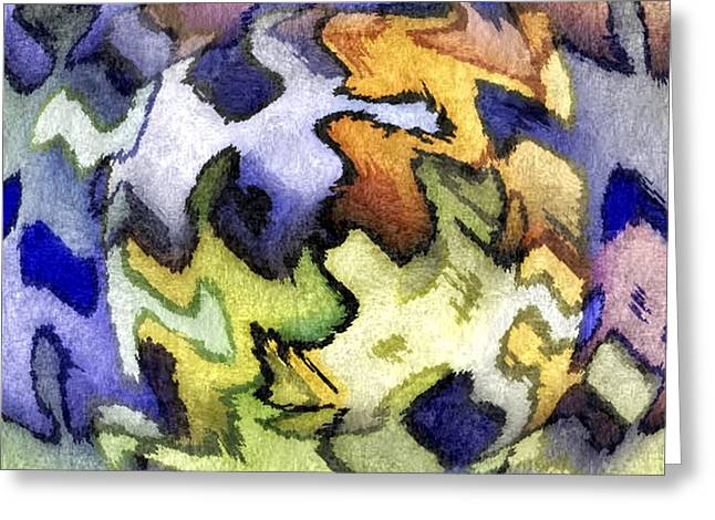 Blue Leopard Skin Greeting Card by Terry Mulligan