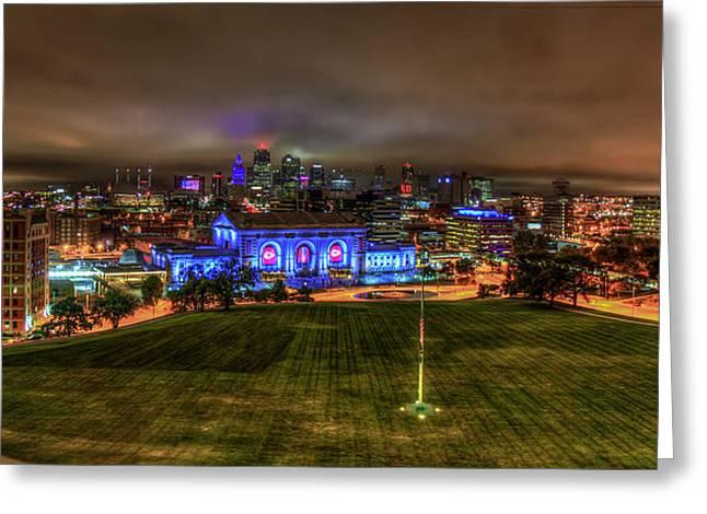 Blue Lights On Kansas City Union Station Kansas City Missouri Art Greeting Card