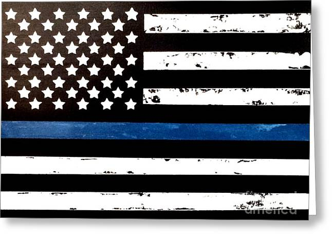 Greeting Card featuring the painting Blue Line Flag by Denise Tomasura