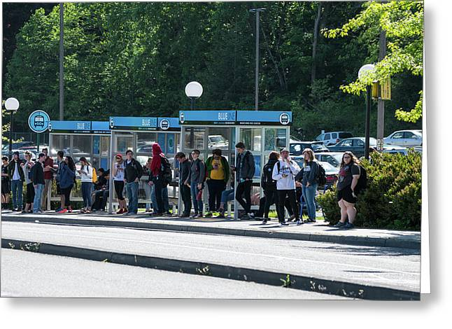 Blue Line On Campus Greeting Card