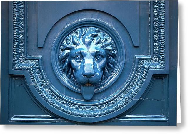 Blue Lion Head Door Greeting Card