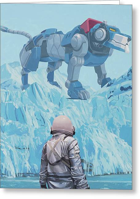 Greeting Card featuring the painting Blue Lion by Scott Listfield