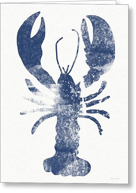 Blue Lobster- Art By Linda Woods Greeting Card