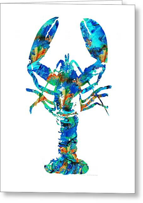 Blue Lobster Art By Sharon Cummings Greeting Card by Sharon Cummings