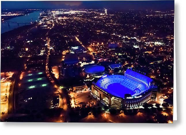 Blue Lsu Tiger Stadium Greeting Card by Andy Crawford
