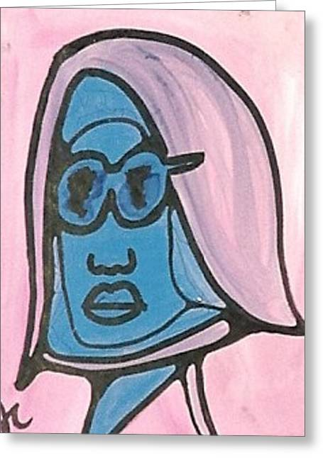 Blue Man With Glasses Greeting Card by Jimmy King
