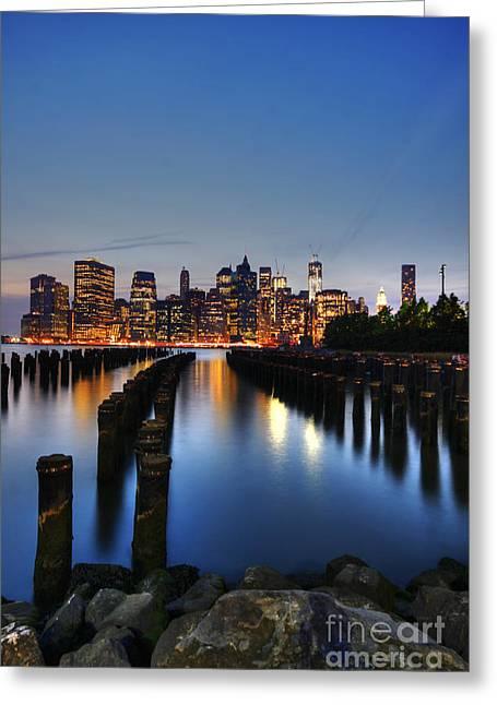 Blue Manhattan Greeting Card by Andrew Paranavitana