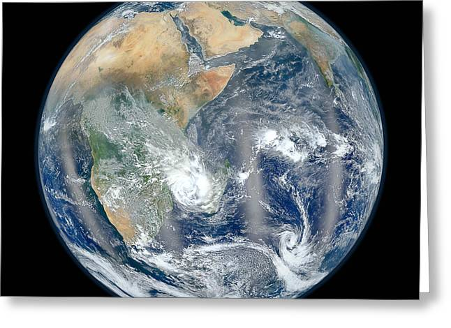 Noaa Greeting Cards - Blue Marble 2012 - Eastern Hemisphere of Earth Greeting Card by Nikki Marie Smith