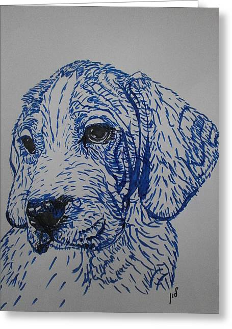 Blue Greeting Card by Maria Woithofer
