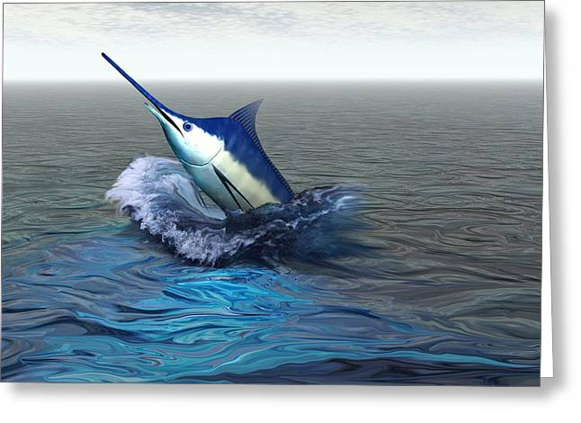 Blue Marlin Greeting Card by Corey Ford