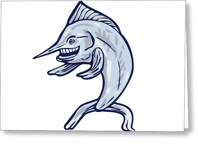 Blue Marlin Fish Isolated Cartoon Greeting Card by Aloysius Patrimonio