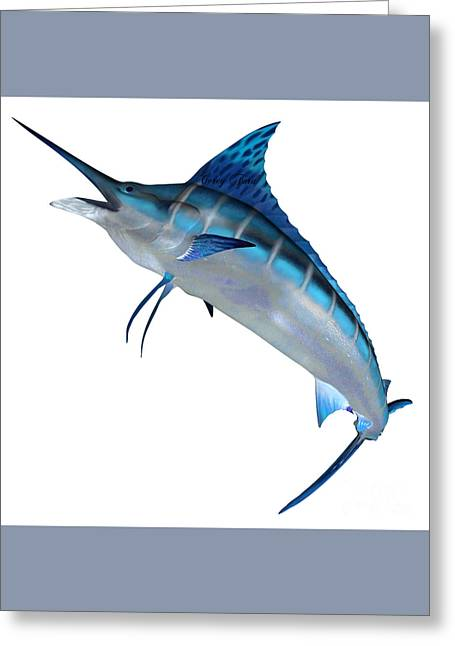 Blue Marlin Front Profile Greeting Card by Corey Ford