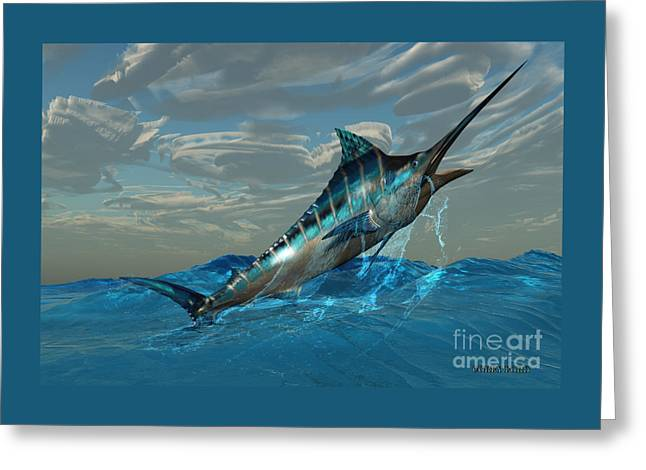 Blue Marlin Jump Greeting Card by Corey Ford