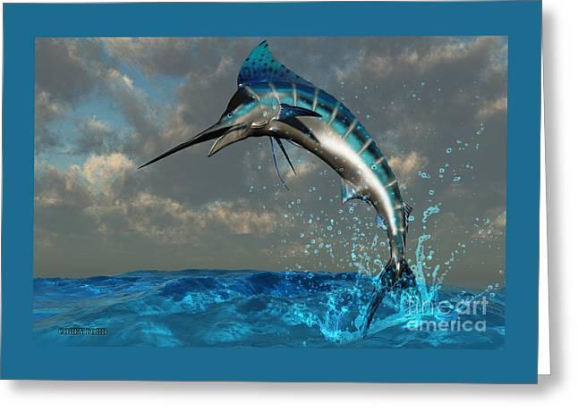 Blue Marlin Splash Greeting Card by Corey Ford