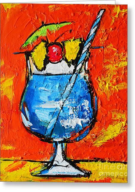 Blue Martini - Hawaiian Style - Tropical Drink Greeting Card