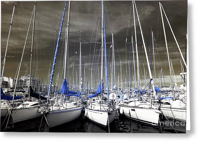 Blue Masts Of Marseille Greeting Card by John Rizzuto