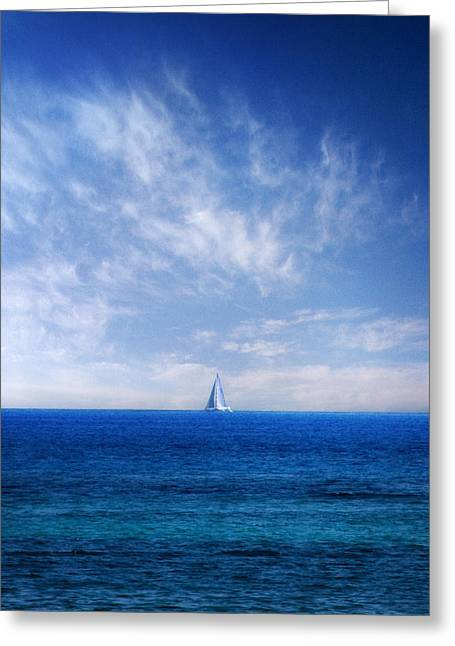 Water Vessels Greeting Cards - Blue Mediterranean Greeting Card by Stylianos Kleanthous
