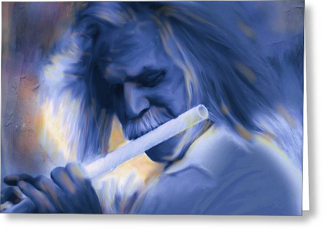 Flautist Greeting Cards - Blue Melody Greeting Card by Bob Salo