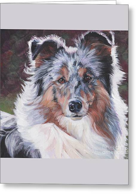 Greeting Card featuring the painting Blue Merle Sheltie by Lee Ann Shepard