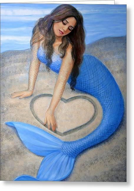 Blue Mermaid's Heart Greeting Card