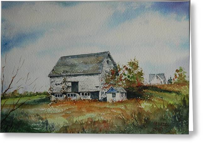 Blue Milkhouse Greeting Card by Mike Yazel