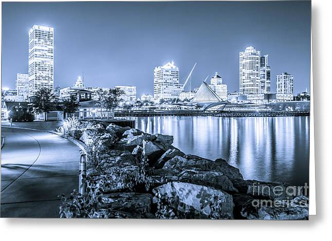 Blue Milwaukee Skyline At Night Picture Greeting Card