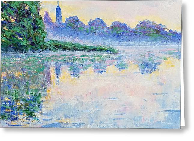 Blue Mist Over The River Greeting Card by Olga Malamud-Pavlovich