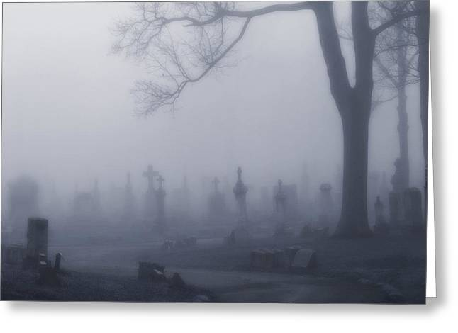 Blue Misted Fog Creeps In Greeting Card by Gothicrow Images