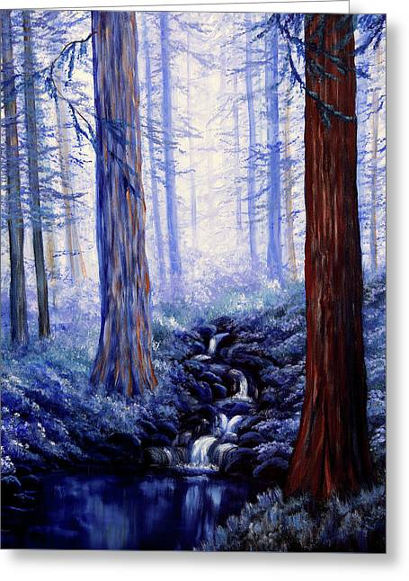 Blue Misty Morning In The Redwoods Greeting Card