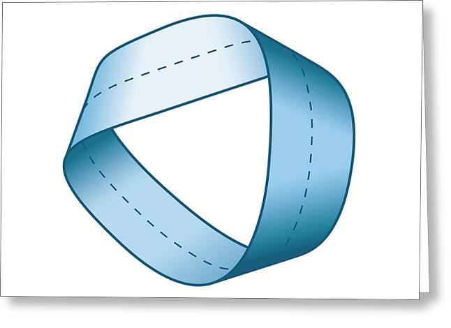 Blue Moebius Strip With Centerline Greeting Card
