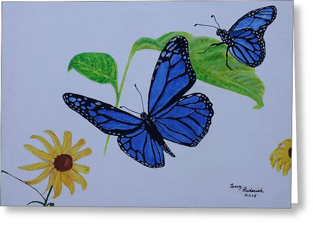 Blue Monarch Greeting Card