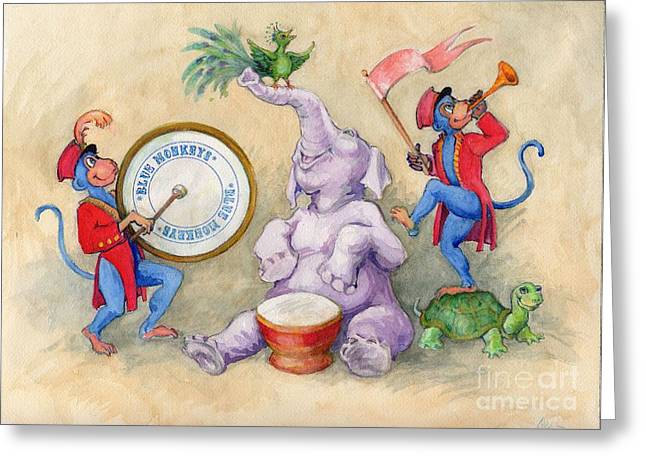 Greeting Card featuring the painting Blue Monkeys Circus by Lora Serra