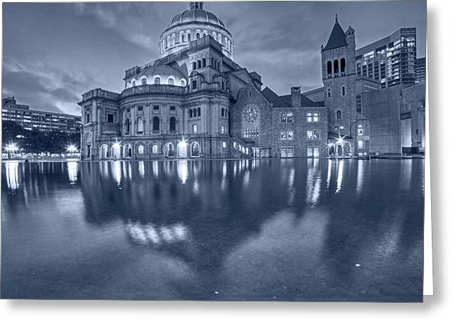 Blue Monochrome Boston Christian Science Building Reflecting Pool Greeting Card