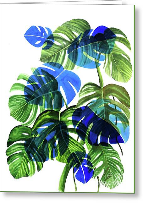 Blue Monstera Greeting Card