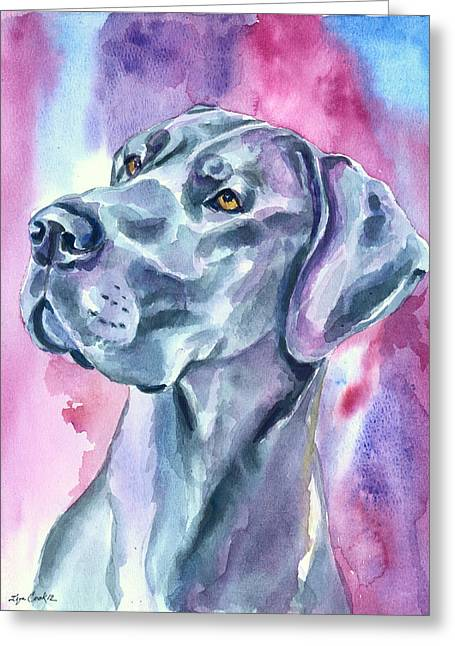 Dane Greeting Cards - Blue Mood - Great Dane Greeting Card by Lyn Cook