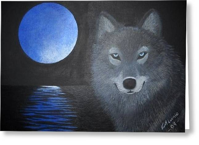 Greeting Card featuring the painting Blue Moon by Edwin Alverio