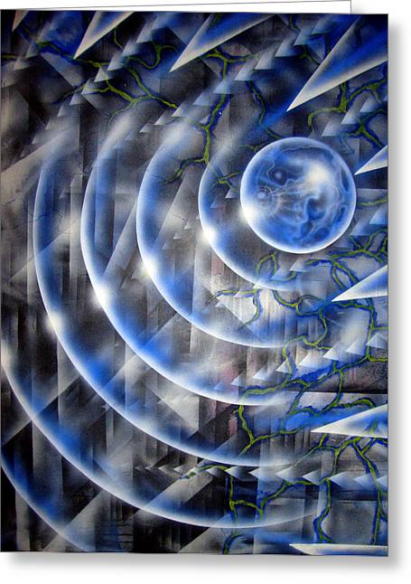 Blue Moon Falling Greeting Card by Leigh Odom