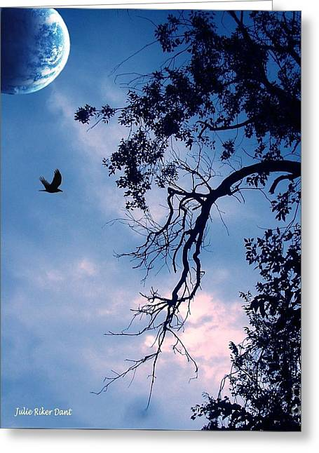 Blue Moon Greeting Card by Julie Dant