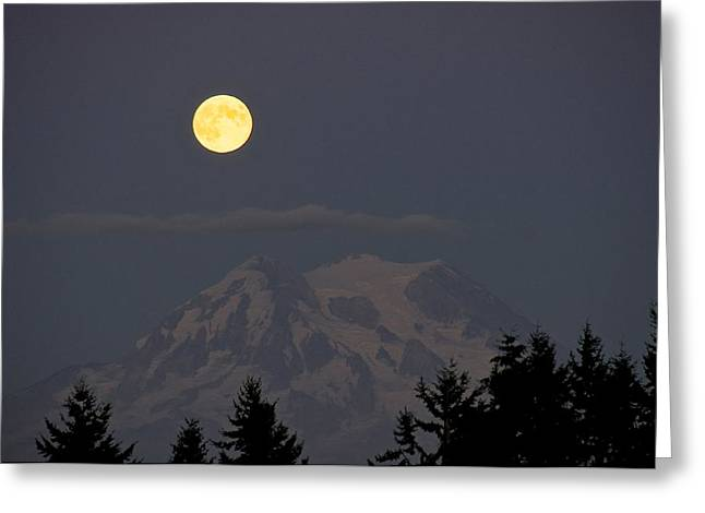 Blue Moon - Mount Rainier Greeting Card