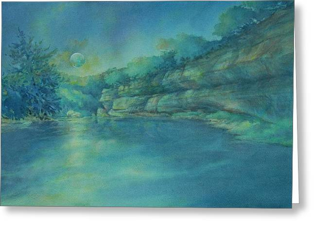 Blue Moon Over The Guadalupe Greeting Card by Virgil Carter