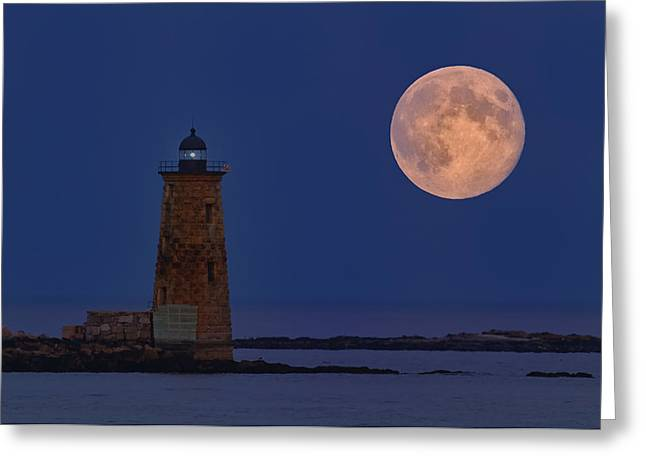 Blue Moon Over Whaleback Lighthouse Greeting Card