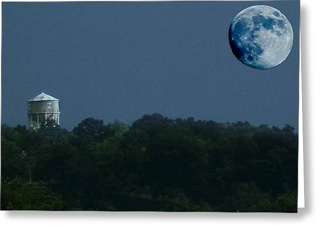 Blue Moon Over Zanesville Water Tower Greeting Card